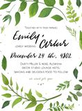 Wedding Invitation, floral invite card Design with green fern le Stock Photography