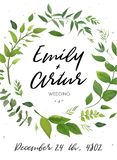 Wedding Invitation, floral invite card Design: green fern leaves. Elegant greenery, foliage eucalyptus forest bouquet decorative frame, wreath print. Vector royalty free illustration