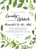 Wedding Invitation, floral invite card Design with green fern le. Aves elegant greenery foliage eucalyptus forest bouquet round frame, wreath print. Vector Royalty Free Stock Images