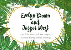 Wedding Invitation, floral invite card Design with green tropica. L forest palm tree leaves, forest fern greenery simple, geometric golden border hexagonal print Royalty Free Stock Images