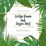 Wedding Invitation, floral invite card Design with green tropica. L forest palm leaves, forest fern greenery simple, square golden border print. Vector cute Stock Photography