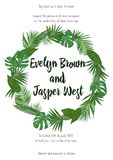 Wedding Invitation, floral invite card Design with green tropica. L forest palm tree leaves, forest fern greenery simple, round border print. Vector cute garden Stock Photo
