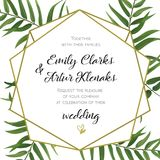 Wedding Invitation, floral invite card Design with green tropica. L forest palm tree leaves, forest fern greenery simple, geometric golden border hexagonal print Royalty Free Stock Photos