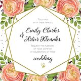 Wedding Invitation, floral invite card Design with pink peach ro. Se Ranunculus elegant  blue berry, romantic fern greenery bouquet, geometric golden border Stock Photos