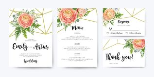 Wedding Invitation, floral invite card Design: pink peach rose R. Anunculus elegant wax flowers, blue berry Eucalyptus forest fern greenery bouquet geometric Stock Photo