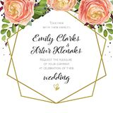 Wedding Invitation, floral invite card Design with pink. Peach rose Ranunculus elegant flowers, blue berry forest fern greenery bouquet, geometric golden border Stock Images