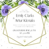Wedding Invitation, floral invite card Design: ultra violet lave. Nder blue garden anemone flowers, green forest fern leaves, greenery herbs, geometric golden Royalty Free Stock Photography