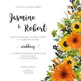 Wedding invitation floral invite card: orange yellow sunflower, Royalty Free Stock Photos