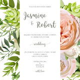 Wedding invitation, floral invite card with pink garden rose, gr Royalty Free Stock Image