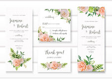 Wedding invitation, floral invite card with pink garden rose gre Stock Photo
