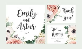 Wedding Invitation, floral invite card vector Design: garden lav Stock Image