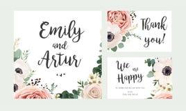Wedding Invitation, floral invite card vector Design: garden lav. Ender pink peach Rose white Anemone wax green Eucalyptus thyme leaves elegant greenery, berry vector illustration