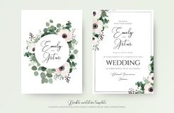 Wedding Invitation, floral invite modern card Design: light pink. Anemone flower, green eucalyptus greenery branches, thyme leaves & berries wreath & frame royalty free illustration