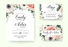 Wedding Invitation floral invite Rsvp cute card vector Designs s. Et: garden lavender pink peach Rose white Anemone wax green Eucalyptus thyme leaves romantic Stock Photography