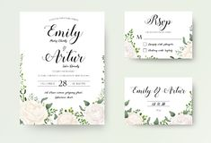 Wedding Invitation floral invite Rsvp cute card vector Designs s royalty free illustration
