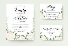 Wedding Invitation floral invite Rsvp cute card vector Designs s. Et: white garden Ranunculus, Rose flower, fern, eucalyptus, mistletoe green leaf & berry royalty free illustration