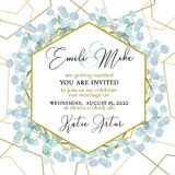 Wedding Invitation, floral invite thank you. Green greenery eucalyptus branches decorative wreath frame pattern. stock photography