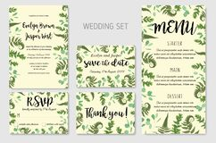 Wedding Invitation, floral invite, thank you, rsvp card Design:. Green fern leaves greenery, eucalyptus and boxwood branches, forest foliage decorative frame stock illustration