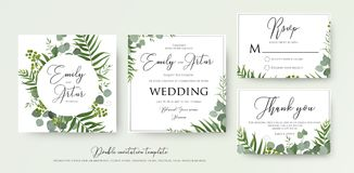 Wedding Invitation, floral invite, thank you, rsvp modern card D. Esign: green tropical palm leaf greenery, eucalyptus branches, foliage decorative frame print Stock Image