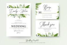 Wedding Invitation, floral invite, thank you, rsvp modern card D. Esign: green fern leaves greenery, eucalyptus branches, forest foliage decorative frame print Stock Image