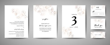 Wedding Invitation, floral invite thank you, rsvp modern card Design in copper ginkgo biloba leaves branches