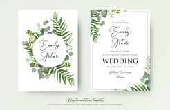 Wedding Invitation, floral invite thank you, rsvp modern card De. Sign: green tropical palm leaf greenery eucalyptus branches decorative wreath & frame pattern Royalty Free Stock Images