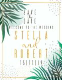 Wedding Invitation, floral invite thank you, rsvp modern card Design: green tropical palm leaf greenery branches decorative wreath vector illustration