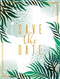 Wedding Invitation, floral invite thank you, rsvp modern card Design: green tropical palm leaf greenery branches decorative wreath. Frame. Vector elegant rustic Stock Illustration