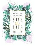 Wedding Invitation, floral invite thank you, rsvp modern card Design: green tropical palm leaf greenery branches decorative wreath. Frame. Vector elegant rustic Vector Illustration