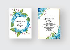 Wedding Invitation, floral invite thank you, rsvp modern card Design: green tropical palm leaf greenery eucalyptus. Branches decorative wreath frame pattern Royalty Free Stock Photo