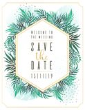 Wedding Invitation, floral invite thank you, rsvp modern card Design: green tropical palm leaf greenery eucalyptus branches decora. Wedding Invitation, floral Stock Illustration