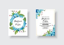 Wedding Invitation, floral invite thank you, rsvp modern card Design: green tropical palm leaf greenery eucalyptus vector illustration