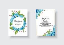 Wedding Invitation, floral invite thank you, rsvp modern card Design: green tropical palm leaf greenery eucalyptus stock illustration