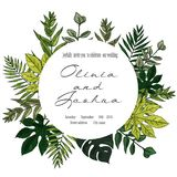 Wedding Invitation, floral invite thank you, rsvp modern card Design: green tropical palm leaf greenery. Eucalyptus branches decorative wreath frame pattern Stock Photos