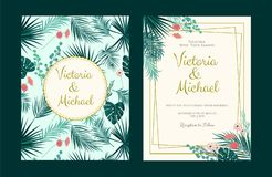 Wedding Invitation, floral invite, tropical palm leaf. Frame pattern. Vector double invitation template Royalty Free Stock Images