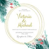 Wedding Invitation, floral invite, tropical palm leaf. Frame pattern. Vector template Stock Photography