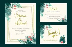 Wedding Invitation, floral invite, tropical palm leaf. Wedding Invitation, floral invite thank you, rsvp card, tropical palm leaf frame pattern. Vector template Stock Photo
