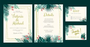 Wedding Invitation, floral invite, tropical palm leaf. Wedding Invitation, floral invite thank you, rsvp card, detail page, tropical palm leaf frame pattern Royalty Free Stock Photos