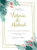 Wedding Invitation, floral invite, tropical palm leaf. Frame pattern. Vector template Royalty Free Stock Photography