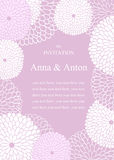 Wedding invitation.Floral romantic  background in violet. Royalty Free Stock Photography