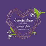 Wedding Invitation Floral Template with Geometric Elements. Save the Date Frame with Place for Text and Lily Flowers. Wedding Invitation Floral Template with Royalty Free Stock Images