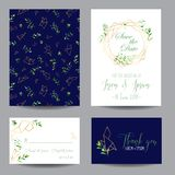 Wedding Invitation Floral Templates Set. Save the Date Cards with Place for your Text and Tropical Leaves. Vector illustration Stock Photos