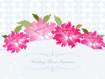 Wedding invitation with flower. And blue seamless pattern background Royalty Free Stock Photography