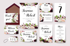 Wedding invitation flower invite card design with garden peach. Wedding invitation flower card design with garden peach rose ranunculus burgundy red Dahlia Royalty Free Stock Image