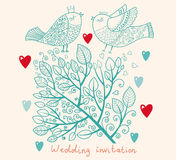 Wedding invitation. Flower pattern Stock Photos