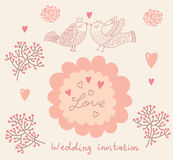 Wedding invitation. Flower pattern Stock Photo