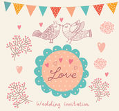 Wedding invitation. Flower pattern Royalty Free Stock Photography