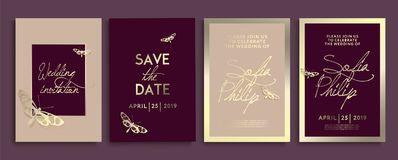 Wedding invitation with flowers, angels and butterflies on gold texture. luxury wedding card on gold backgrounds, artistic covers stock illustration