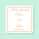 Wedding invitation flowers background mint and peach colros Stock Images