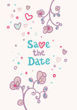Wedding invitation with flowers and hearts Royalty Free Stock Photography